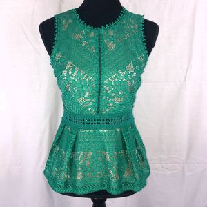 Romeo & Juliet Couture Lace Peplum Top Sz S
